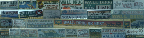 A collage of literally just a tiny select few of the Wall Drug billboards